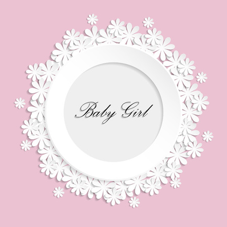 home birth: Vector photo frame for newborn girl
