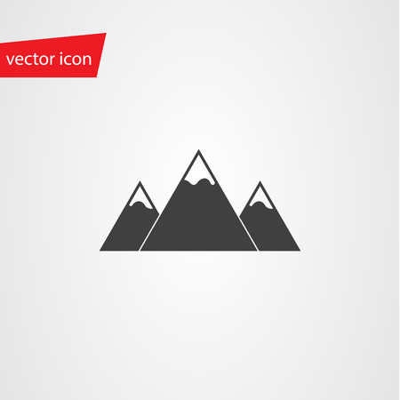 peaks: Vector icon of mountains with snow-capped peaks