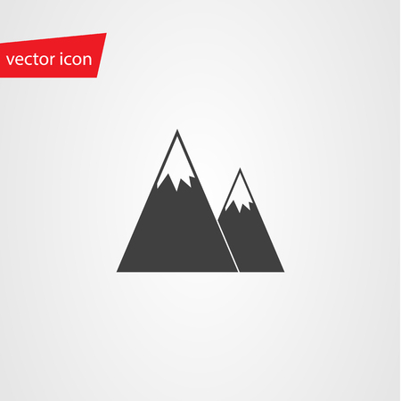 snowcapped: Vector icon of mountains with snow-capped peaks