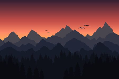 Vector illustration of sunset in the mountains Illustration