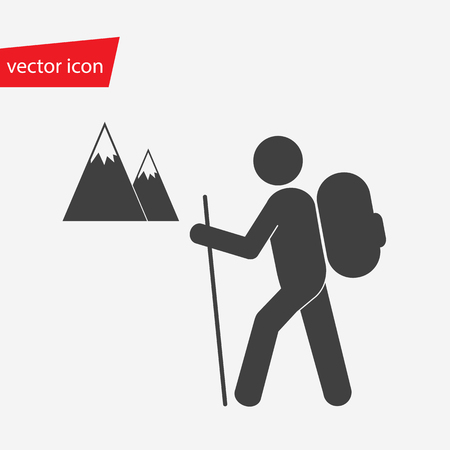 rocky road: Vector icon of hiker with backpack against the background of snowy mountains