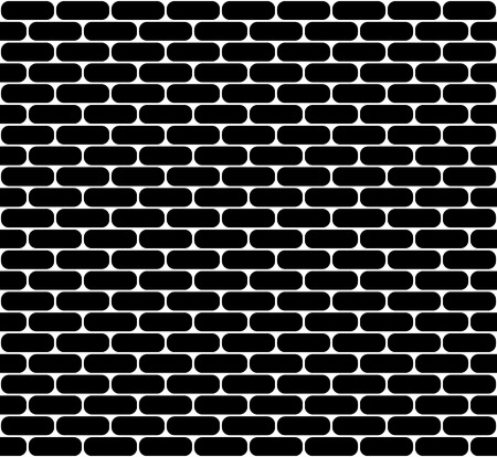 Black brick wall seamless vector texture with rounded corners