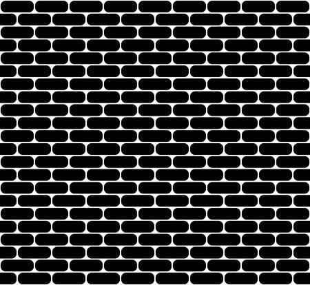 Zwarte bakstenen muur naadloze vector textuur met afgeronde hoeken