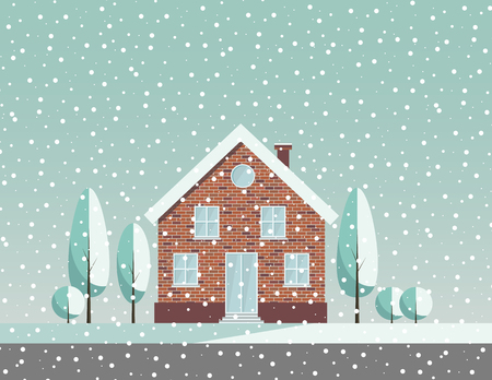 countryside landscape: Winter snowy countryside landscape