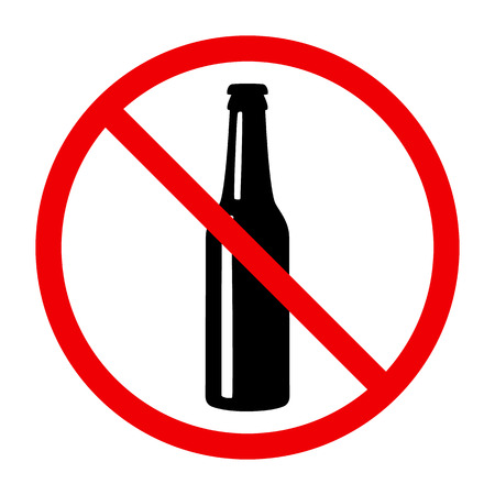 Non alcohol symbol with beer bottle