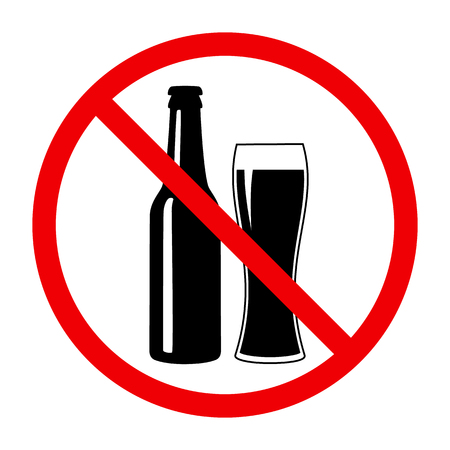 Non alcohol symbol with beer bottle and glass Illustration