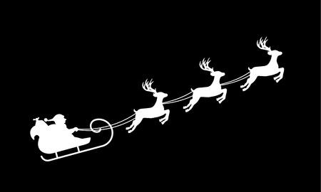 Isolated silhouette of Santa's sledge, white on black