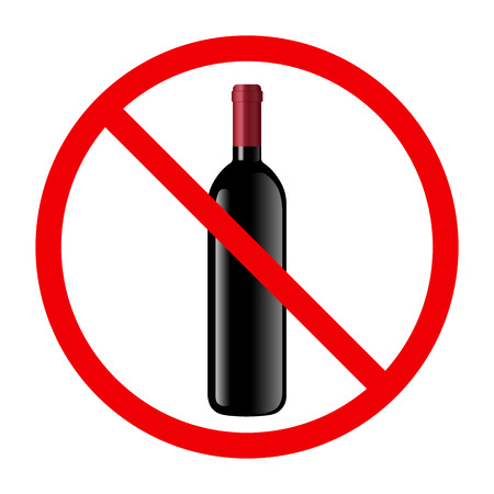 non: Non alcohol symbol with wine bottle and glass Illustration