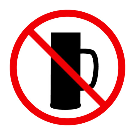 Non alcohol symbol with beer glass Illustration
