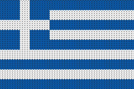 knitted: Knitted flag of Greece Illustration