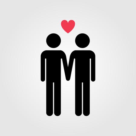 Homo paar met rood hart pictogram