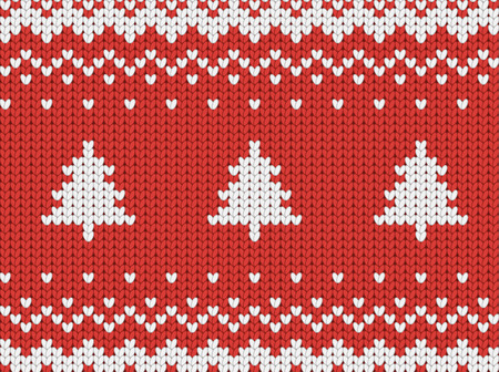 Knitted seamless  red Christmas pattern with Christmas trees, seamless pattern