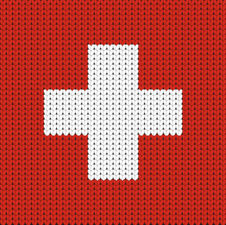 knitted: Knitted flag of Switzerland