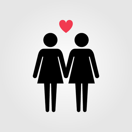 Lesbian couple with red heart icon Illustration