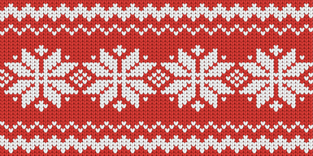 scandinavian: Knitted red seamless  scandinavian Christmas pattern with snowflakes