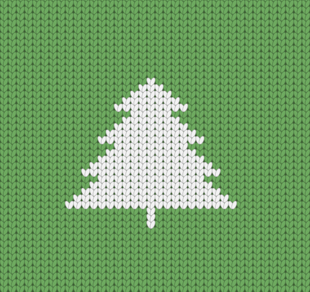 Knitted green Christmas pattern wiht Christmas tree, Christmas greeting card, seamless pattern Illustration