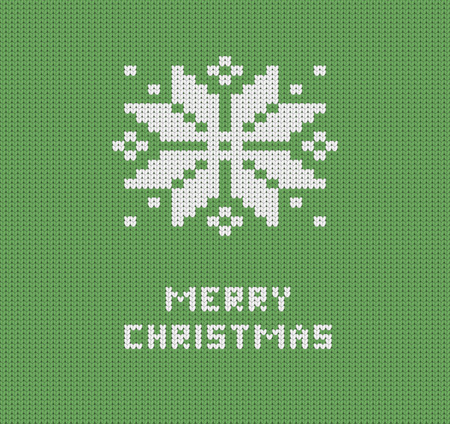 isles: Knitted green Merry Christmas greeting card with knitted snowflake