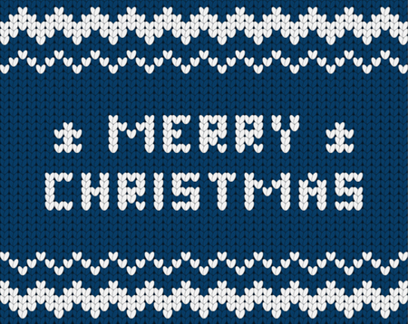 dark blue: Knitted dark blue Merry Christmas pattern, Christmas greeting card Illustration