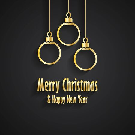 three wishes: Merry Christmas and Happy New Year greeting card with three gold Christmas toys Illustration
