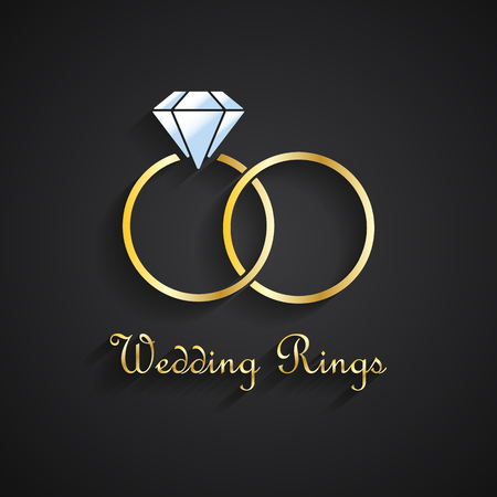 Vector illustration of two golden wedding rings with diamond Ilustrace
