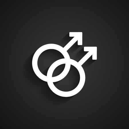trans gender: Homosexual white symbol on black background