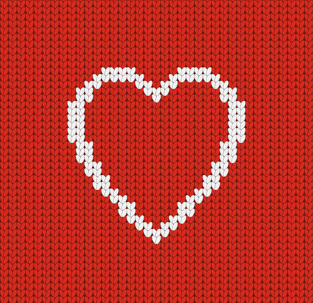 Happy Valentine Day knitted greeting card with heart, vector illustration of loving heart Illustration