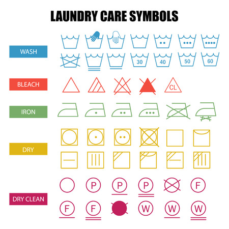bleach: Laundry care symbols set. Wash, bleach, iron, dry and dry clean symbols.