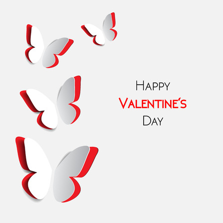 Happy Valentines Day greeting card with paper origami red butterflys