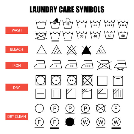 Laundry Care Symbols Set Wash Bleach Iron Dry And Dry Clean