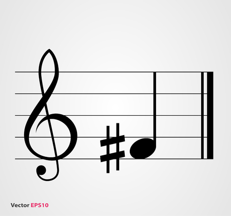 Sharp musical symbol with note, treble clef and staff