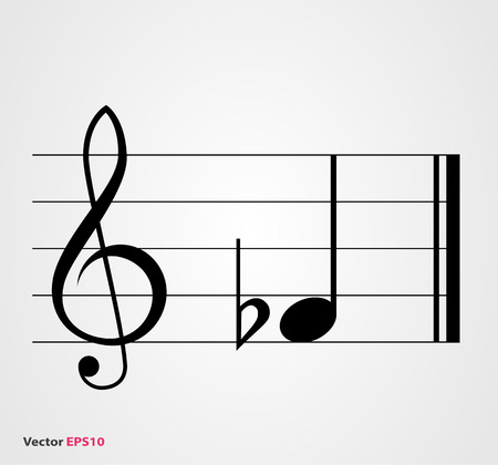 semibreve: Flat musical symbol with note, treble clef  and staff