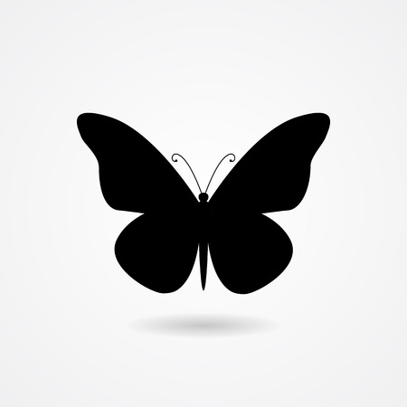 Vector flat isolated black butterfly icon with shadow