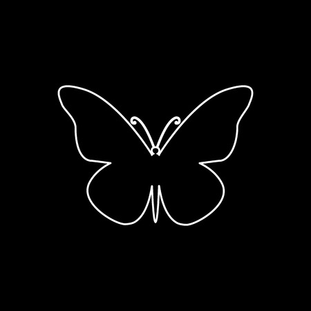 Vector flat isolated white stroke butterfly icon