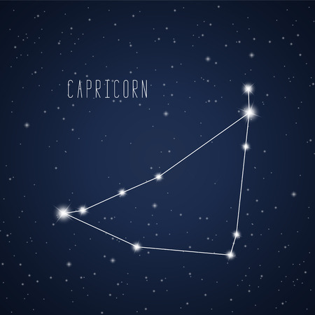 Vector illustration of Capricorn constellation on the background of starry sky
