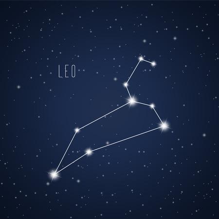 星空の背景にレオ星座のベクトル イラスト  イラスト・ベクター素材