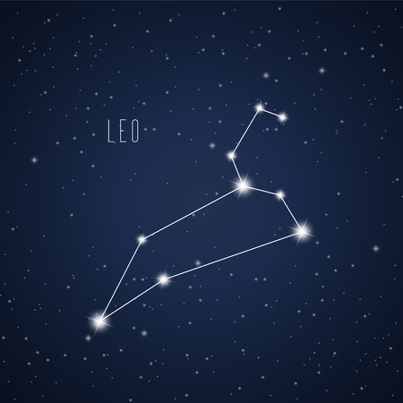 Vector illustration of Leo constellation on the background of starry sky Çizim
