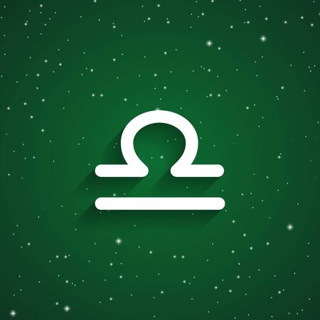 starry sky: Libra  zodiac symbol, white zodiac icon on the background of green starry sky Illustration