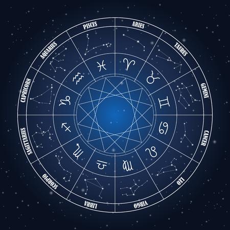 Círculo del zodiaco con la astrología canta en el fondo azul oscuro Ilustración de vector