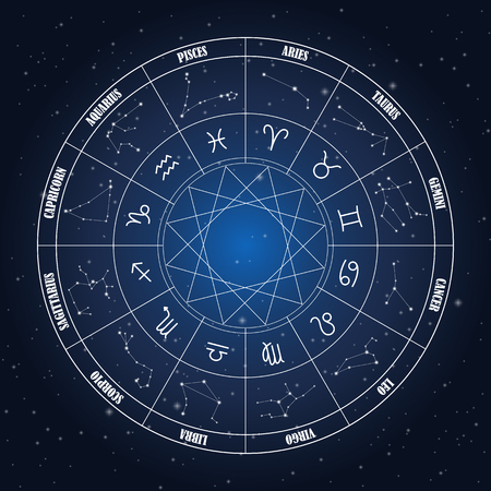 Zodiac circle with astrology sings on the dark blue background
