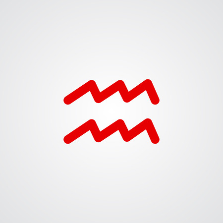 Aquarius zodiac symbol, red zodiac flat isolated icon on the gray background