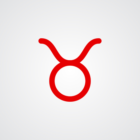 zodiacal symbol: Taurus zodiac symbol, red zodiac flat isolated icon on the gray background