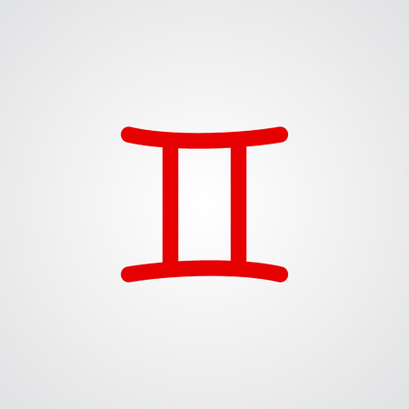 Gemini zodiac symbol, red zodiac flat isolated icon on the gray background