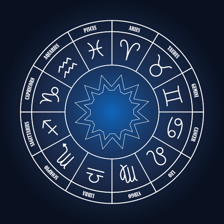 zodiacal symbol: Zodiac circle with astrology sings on the dark blue background