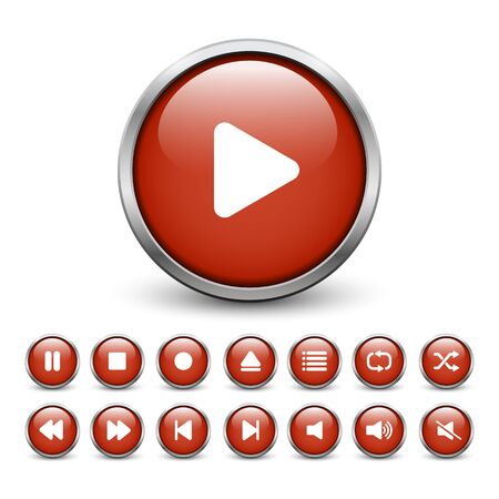 Set of red media player buttons with metal frame and shadow Illustration