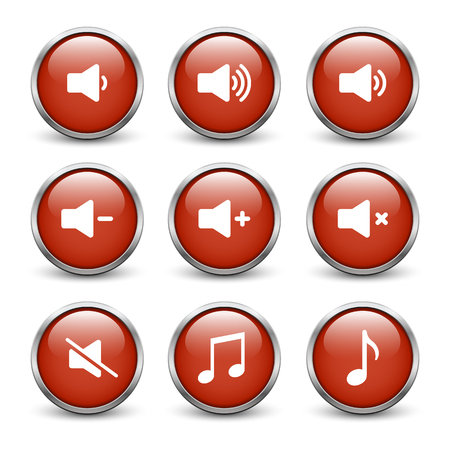 Set of red sound buttons with metal frame and shadow