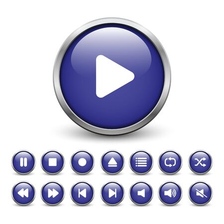 Set of blue media player buttons with metal frame and shadow
