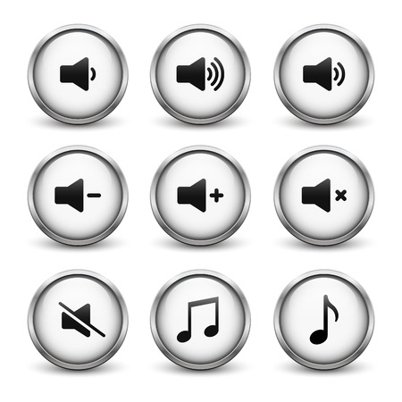 Set of white sound buttons with metal frame and shadow