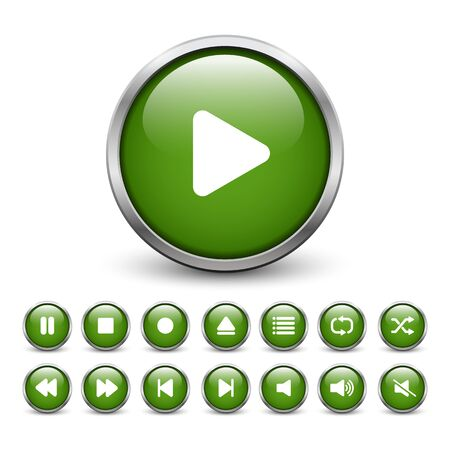 eject icon: Set of green media player buttons with metal frame and shadow
