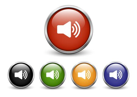 High Volume icons, set of five colored buttons with metal frame and shadow