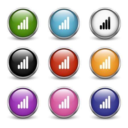 Hoog volume pictogrammen, set van negen gekleurde knoppen met metalen frame en schaduw